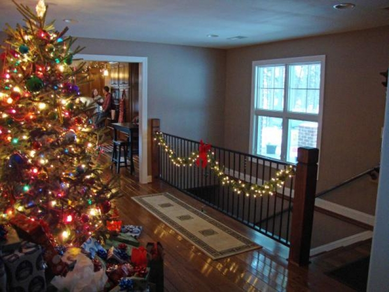 living room in timber ridge home at christmas