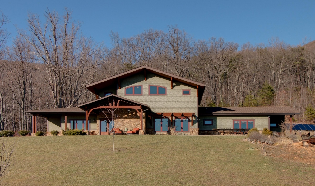 front view of Craftsman style home near Smith Mountain Lake in Bedford County, Virginia