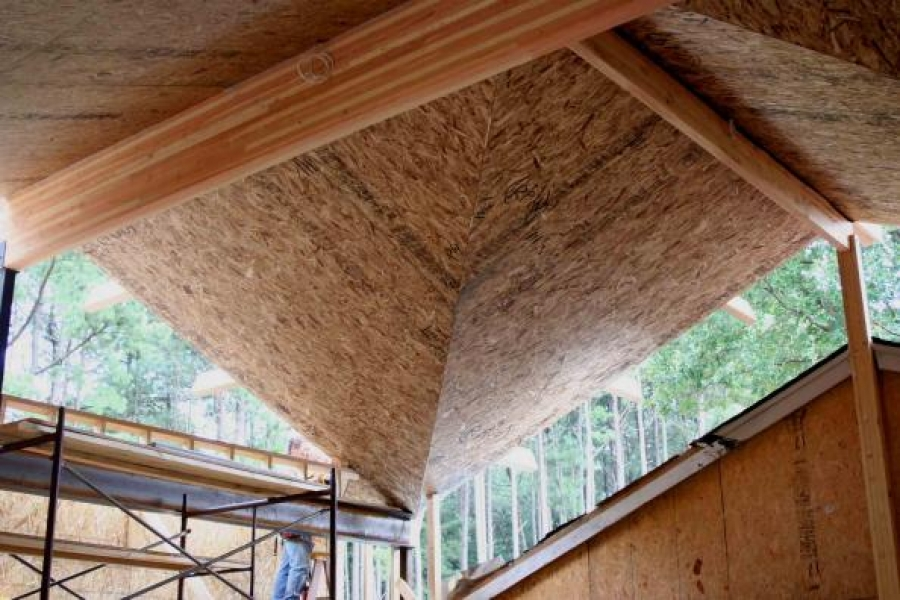 open timber ceiling on porch, wood eaves, looking amazing