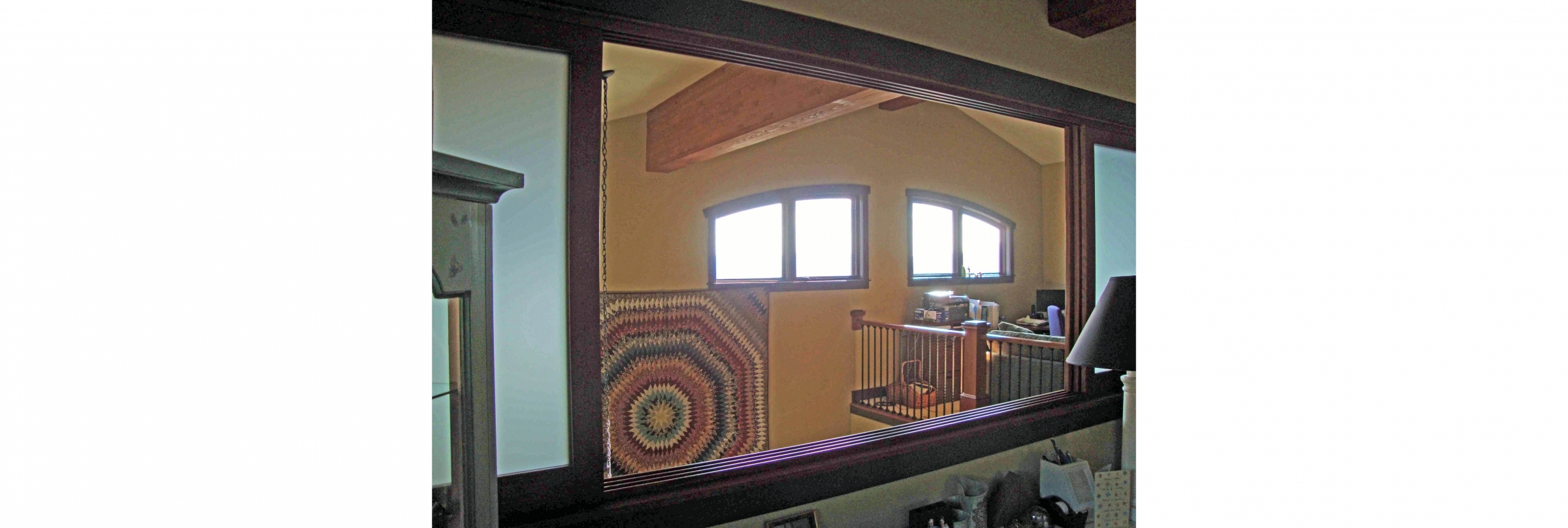 custom shoji screens for loft bedroom opening into great room and mountain valley vistas beyond, designed and built by Timber Ridge Craftsmen Inc of Smith Mountain Lake Virginia