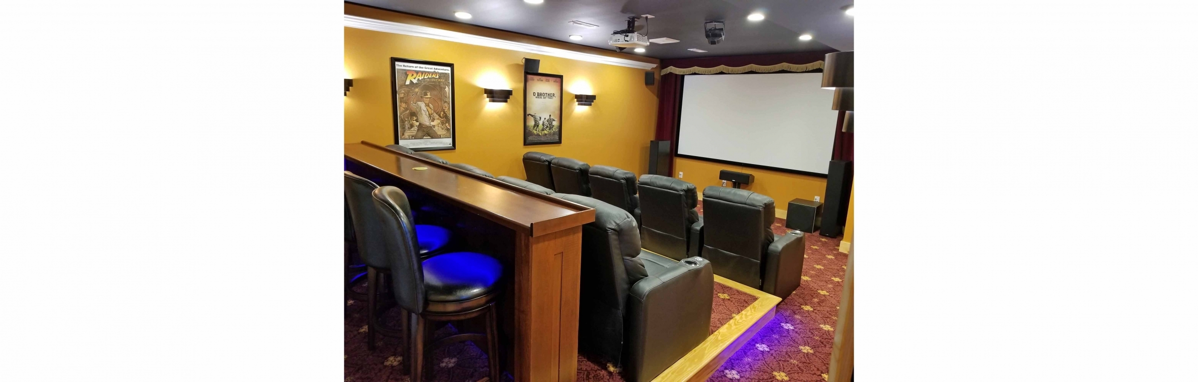 picture of custom home theater in Heron Point on Smith Mountain Lake, Timber Ridge Craftsmen Inc home builder in Moneta Virginia