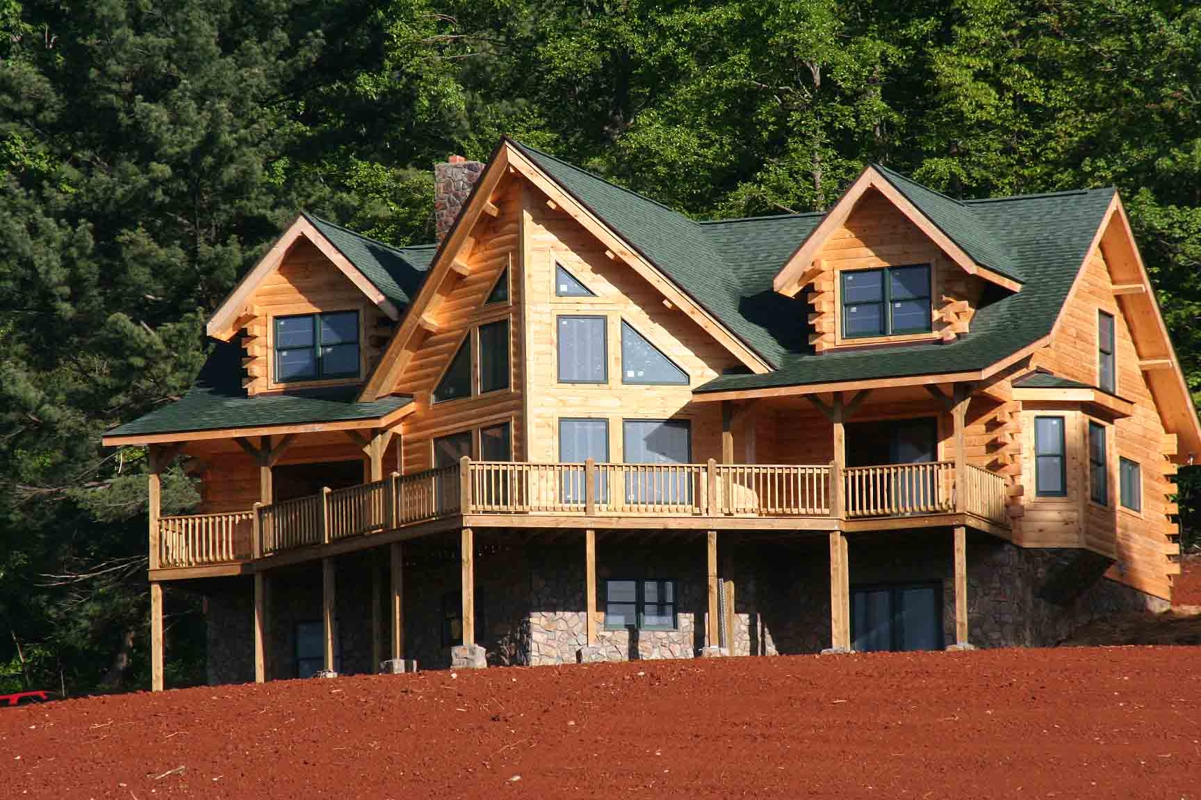 example of a finished log home in Franklin County, Blue Ridge Mountains, near Smith Mountain Lake VA