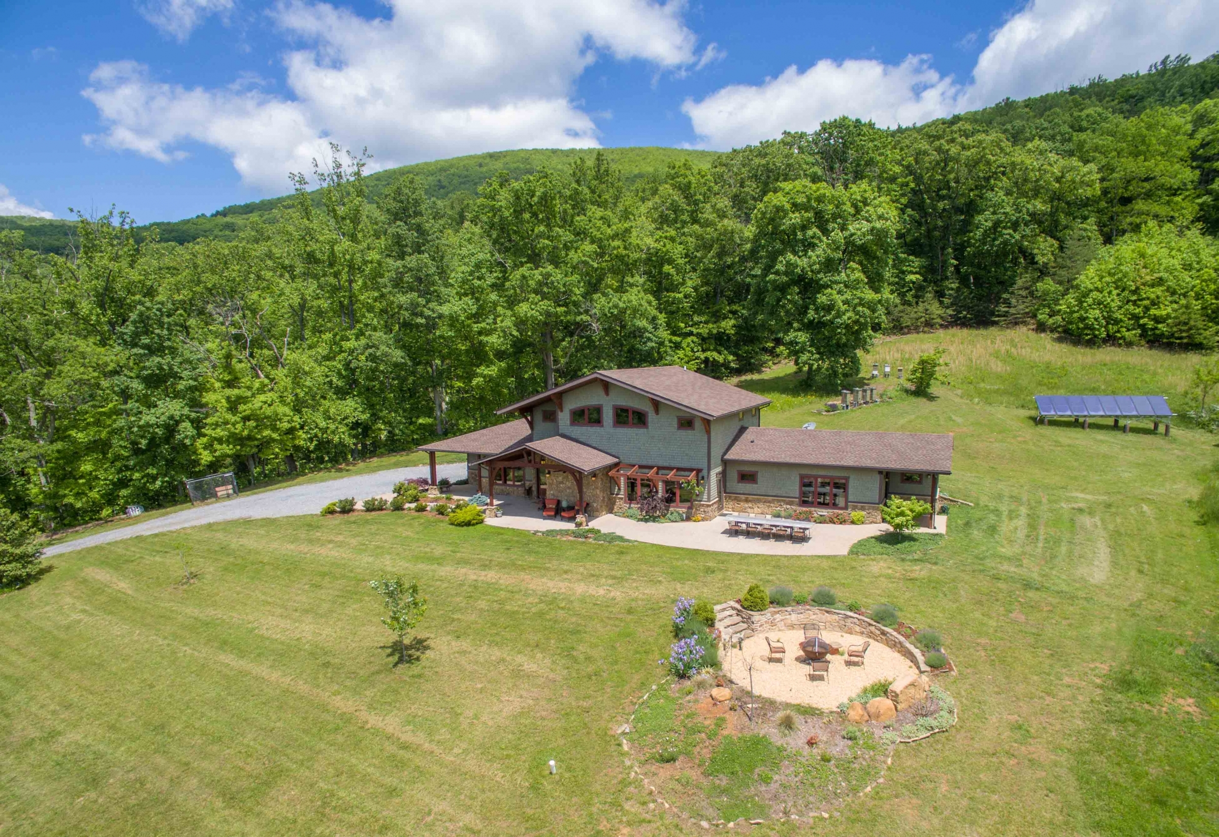 example of aerial view of complete home site development in Bedford County by Timber Ridge Craftsmen Inc