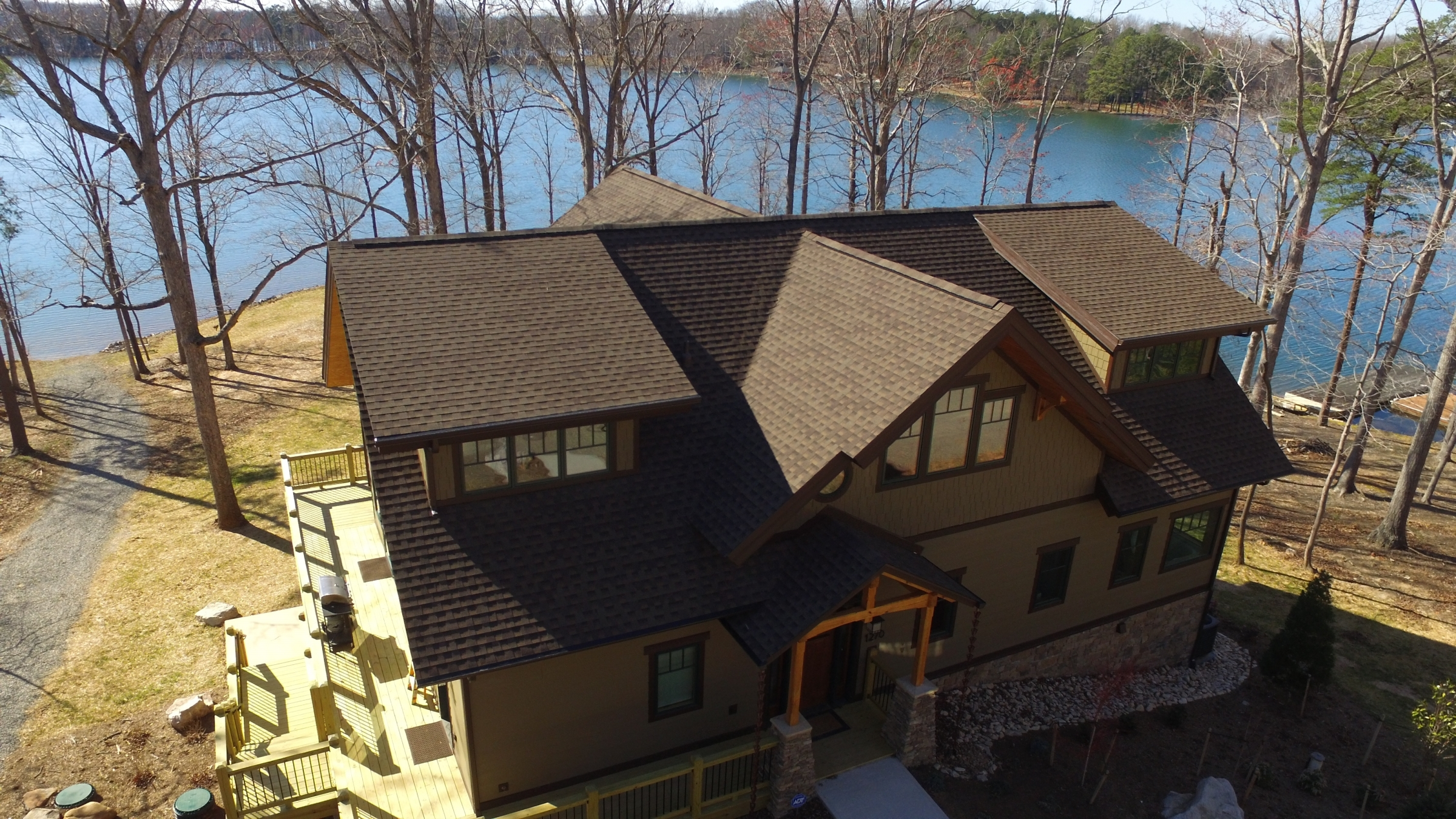 Arial Exterior Shot of New Home Built by Timber Ridge Craftsmen on Heron Point