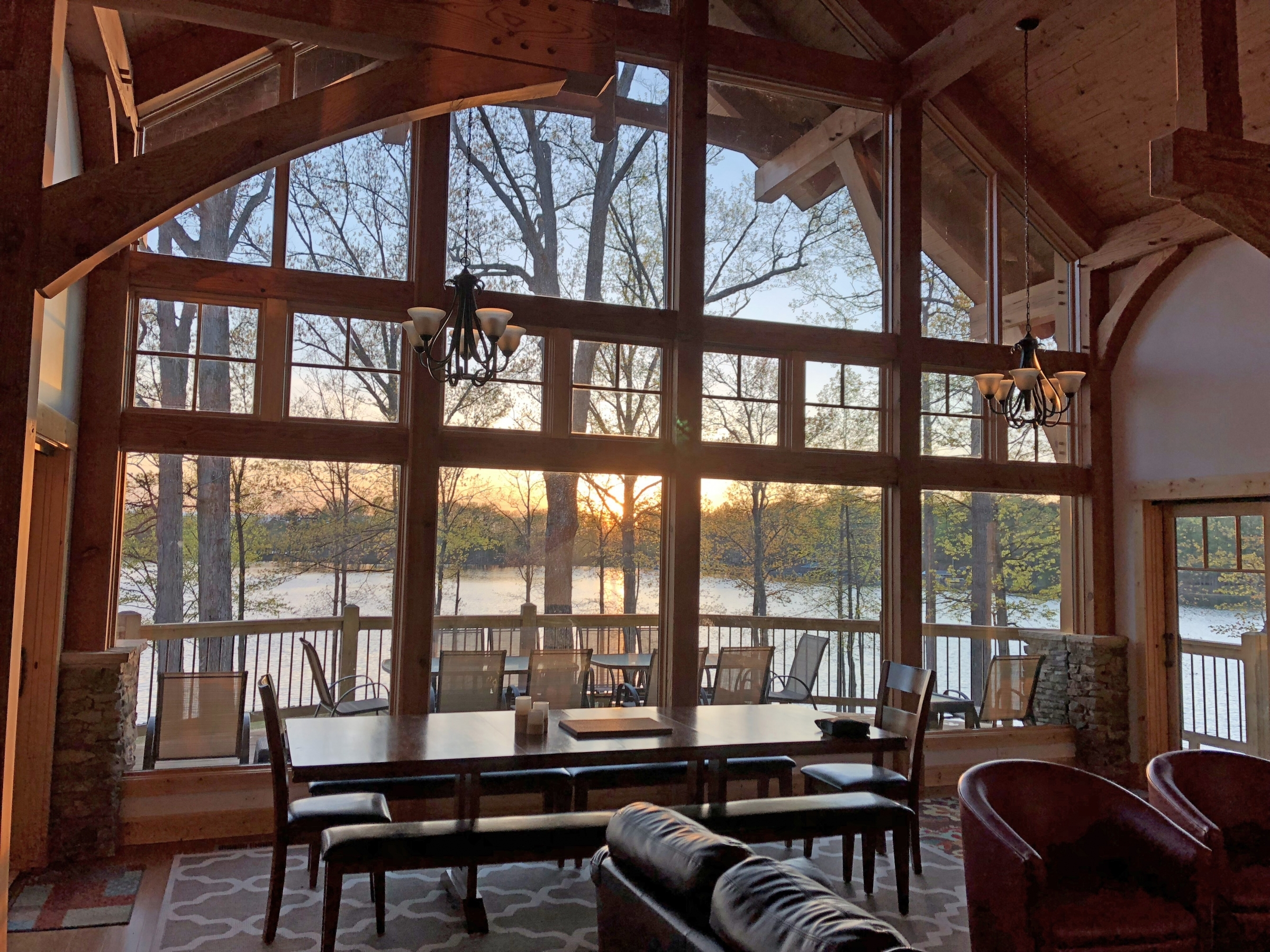 a picture of the timber frame great room overlooking Smith Mountain Lake of custom home build Heron Point