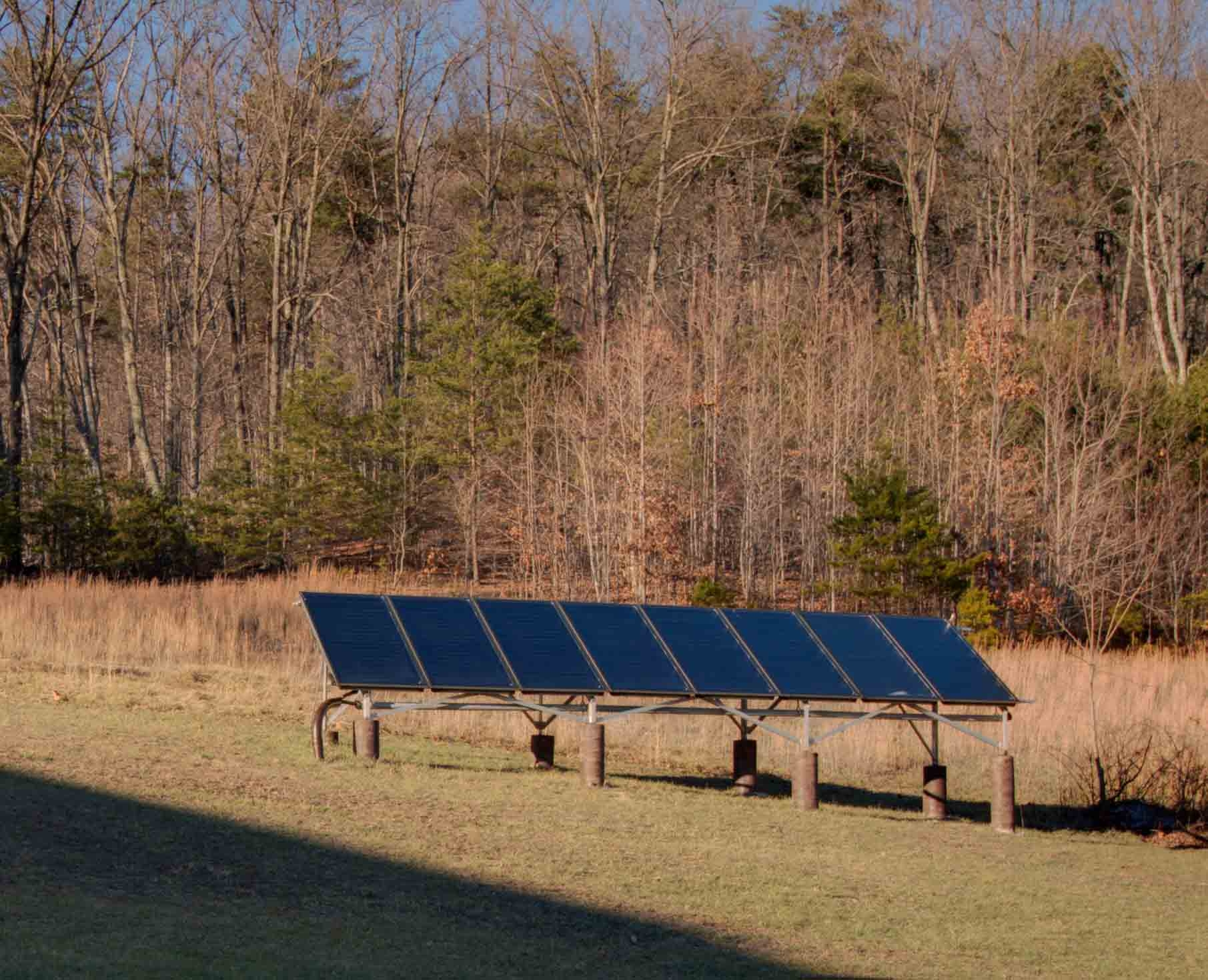 photograph of a solar thermal array on a custom home near Smith Mountain Lake which was built by Timber Ridge Craftsmen, Inc.