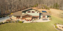 aerial view of Craftsman style mountain home near Smith Mountain Lake in Bedford County Virginia