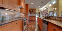 quartersawn white oak kitchen cabinetry in custom mountain home near Smith Mountain Lake, VA