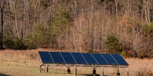 solar thermal array sized to supply energy to this mountain home's radiant floor heating system